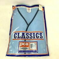 PCA Classics 2 Pc Men's Pajama Set Shirt Pants Blue L Retro Vintage 70's 80's