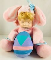 Easter pink Plush Baby Doll w/ Porcelain Face music box animated