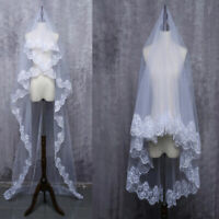 Wedding Veils Ivory White Drop Veil Bridal Accessories Fingertip Cover Face Lace