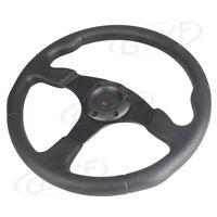 "14"" Universal PU Leather Stitching Sport Car Racing Steering Wheel Black"