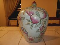 Large Chinese Famille Rose Peaches Ginger Jar with Peach Knob Cover
