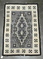 "Antique Navajo rug - Blanket  - Two Gray Hills c. 1920   66"" x 43"""