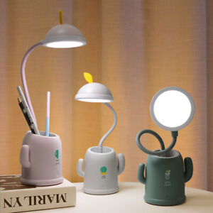 Cute Cactus Pen holder LED Lamp USB Rechargeable Dimmable Kids Table Study Desk