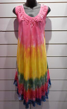 Dress Fits 1X 2X 3X Plus Pink Yellow Long Tunic Top Tie Dye Embroidery g1330