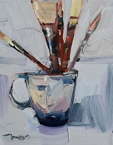 JOSE TRUJILLO Oil Painting IMPRESSIONISM CONTEMPORARY Art Brushes Cup Still Life