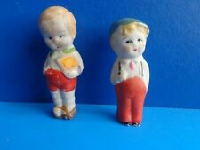 2 Small Vintage All Bisque Boy Dolls- Japan