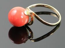 Stunning Natural Undyed Sardinian Coral Cabochon 18K Gold Ring size 7 3/4