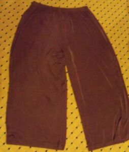 CITIKNITS Brown Slinky Wide Leg Flowy Stretchy Comfort Pants size XLarge