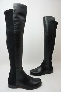 Stuart Weitzman 5050 Over the Knee OTK Stretch Leather Boots Black Size 4.5 M