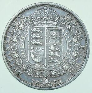1887 VICTORIA JUBILEE HEAD HALFCROWN, BRITISH SILVER COIN GVF