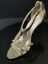 New Glint Daryn Nude Satin Rhinestone Women's Wedding Sandals Size US 10 M