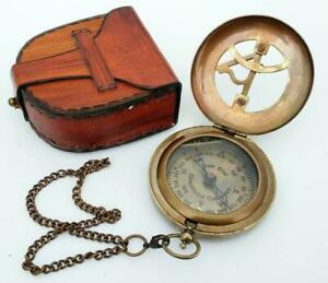 Antique Steampunk Brass Sundial Compass, Sundial Watch with Leather case