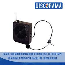 CASSA CON MICROFONO ARCHETTO INCLUSO LETTORE MP3 PEN DRIVE O MICRO SD RADIO FM