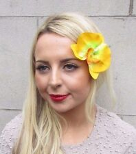 Large Yellow Orchid Flower Hair Clip Vintage Rockabilly 1950s Fascinator 3283