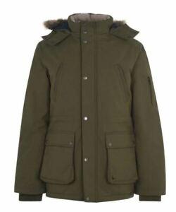 JACK WILLS Newton Long Parka Olive Green Jacket Mens All Sizes *REFOFB33-36