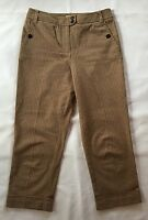 Women's Talbots Camel and Brown Plaid Cropped Cuffed Pants-Sz 2