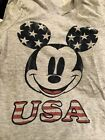 DISNEY MICKEY MOUSE USA PATRIOTIC STARS TEE T SHIRT RED WHITE BLUE Memorial 6 8