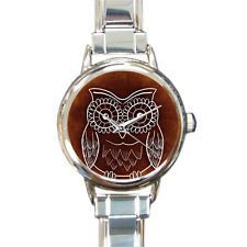 Designer Ladies Owl Watch Italian Charm Watch Bracelet in Silver with 16 Links!