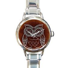 Reloj de pulsera diseñador Damas Reloj Italiano de bisutería de Búho en Plata con 16 enlaces!