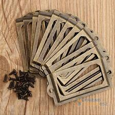 12 X Antique Drawer Cabinet Frame Label Tag Pull Handle File Name Card Holder