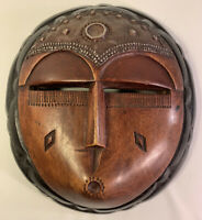 African Female GHANA Tribal MASK Hand carved wood & metal Accent Wall Decor VTG