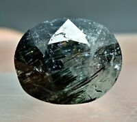 7 Crt Natural Oval Faceted Apatite Gemstone with Unknown Needle Like Inclusion