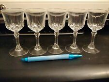 Set Of 5 Crystal Cordial Liqueur Glasses 4.25 Inches Tall