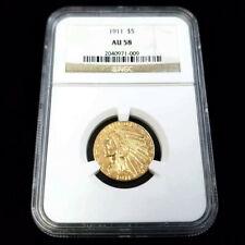 1911 Indian Head Half Eagle Gold $5 Five Dollar NGC AU58 Collector Coin JP1009