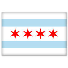 "CHICAGO Illinois Flag bumper sticker decal 5"" x 3"""