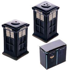 Novelty Police Box blue salt & pepper cruet set shakers pots Dr Who fan present