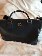 Tory Burch Women's Robinson Double Zip Tote Black Saffiano Leather Gold Trims