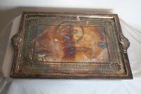 Antique Art Deco Silver Metal Serving Tray Platter Lattice Designs Marked 04499