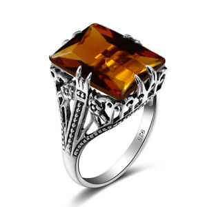 Bulgaria Handmade Charm Female Ring 925 Sterling Silver Fine Vintage Amber Ring