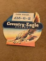 Vintage Coventry Eagle Bicycle Shop Display Price Card, Showcard Advertising.