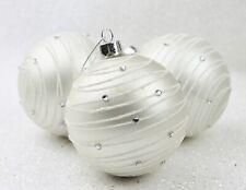 GISELA GRAHAM CHRISTMAS MATT WHITE DIAMANTE ASTRAL BANDS GLASS BAUBLE X 3