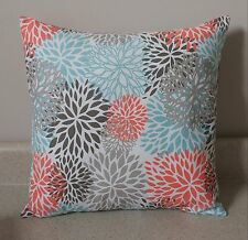 1 floral blossom blooms pillow covers shams 14 x 14 coral teal Byram flowers