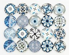 12mm 50pcs Flatback Cameo Mixed Blue Round Moroccan Tile Glass Cabochon Supplies