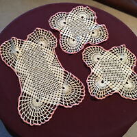 Vintage Hand Crocheted Cotton Dresser Set Of 3 White & Pink Doilies