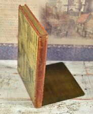 Vintage Lovely Leather & Brass Fo Book Bookends