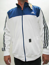 MEN'S ADIDAS JACKET SPORT ZIP TRACK NEW WHITE BLUE Polyester SOCCER TRACKSUIT XL