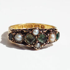 Charming Antique Victorian 15ct Gold Emerald & Pearl set Ring c1872