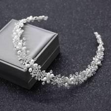 Bridal Hair Vine Silver Crystal Pearl Wedding Hair Jewelry Headpiece Women Crown