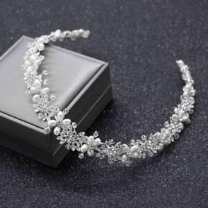 Clear Crystal Bridal  Hair Vine Pearls Wedding Hair Jewelry  Headpiece Crown