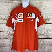 Puma Ferrari Mens Size Large Orange Vodafone Shell Patches Polo Shirt