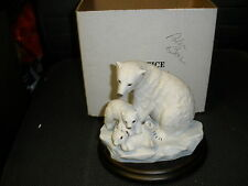 "HOMCO masterpiece Porcelain ""Endangered Species"" ""Polar Bear and Cubs WITH BOX"