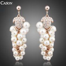 Austrian  Crystal Grape Design Pearl Dangle Earrings 18K Gold Plated Jewelry
