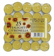 25 Citronella Tealight Candles Wax Mosquito Fly Insect Repeller For Home Outdoor