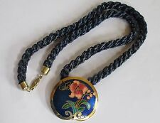 VINTAGE CLOISONNE pendant rope chain necklace BLUE flower butterfly VGUC