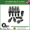 16 Black Alloy Wheel Bolts & Locks M14x1.25 For BMW 1 Series (2015-20)