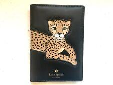 NWT Kate Spade Run Wild Leopard Applique Passport Holder Black Leather Wallet